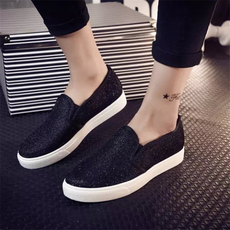 2017 Autumn Fashion Women Loafers Sapatos Femininos Womens Casual Shoes Sequined Cloth Women Flats Shoes 003