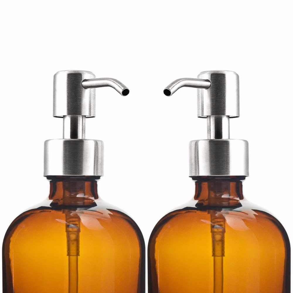 16 Oz Large 500ml Liquid Soap Dispenser Amber Gl Pump Bottle With Stainless Steel Lotion For Homemade Lotions Detergent In Refillable Bottles From