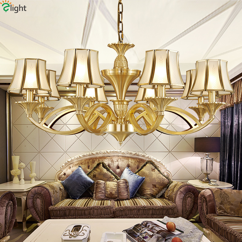 Europe Lustre Copper Led Chandeliers Lighting Glass Living Room Led Pendant Chandelier Lights Fixtures Dining Room Hanging Light modern lustre blue glass led chandeliers lighting copper living room led pendant chandelier lights dining room led hanging light