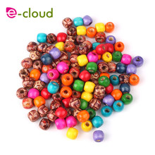 100Pcs Mixed Color Wooden Hair Beads Braiding 6mm Hole Dreadlock Bead Ring Tubes For Braiding Hair Extension Accessories