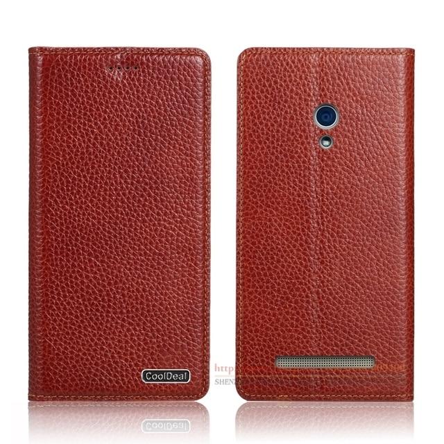 "litchi stria Genuine Leather Case For ASUS T00J T00P ZenFone 5 A501CG A500KL 5.0"" Magnetic KickStand Flip Cover case"