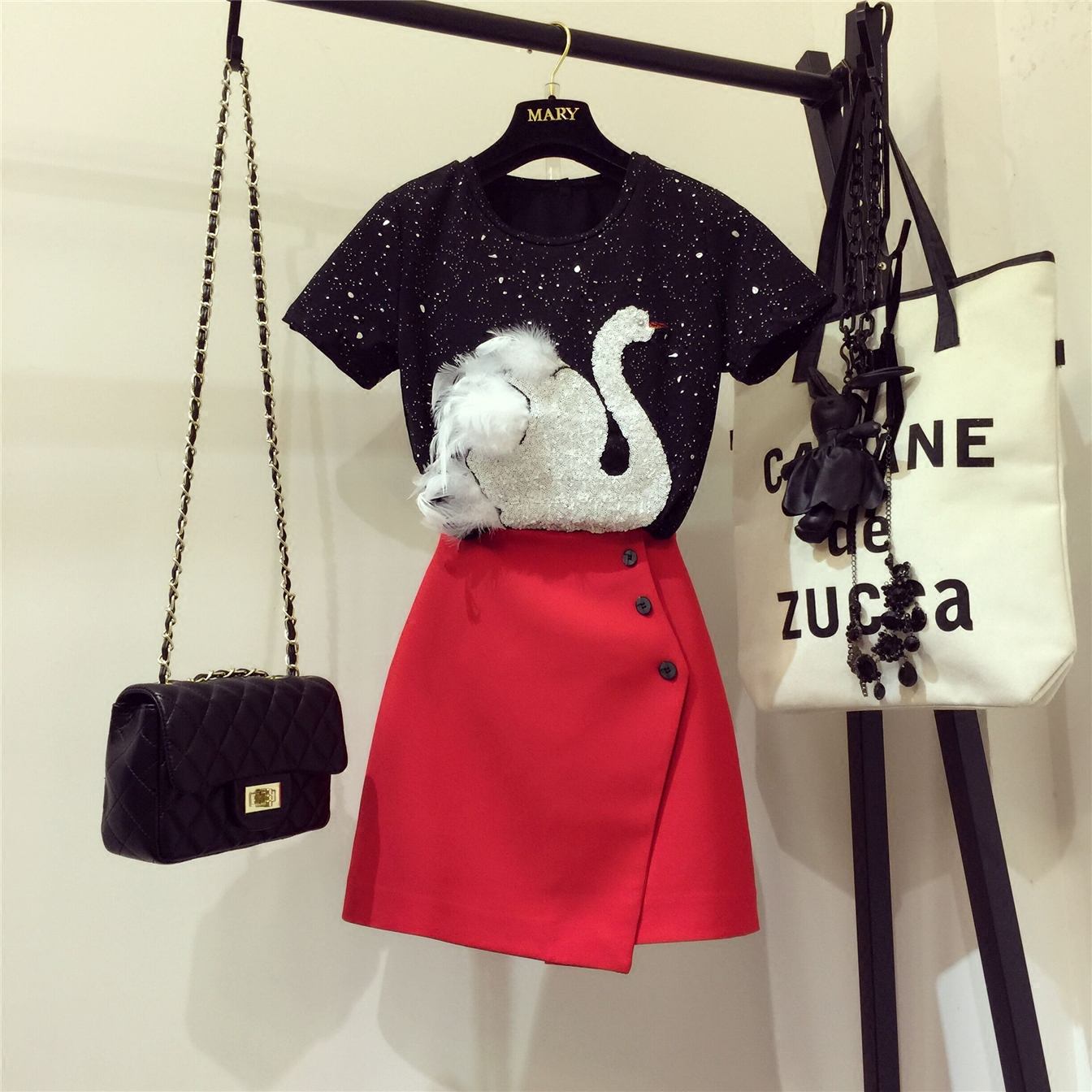 2019 New Summer Two Piece Female Sets Embroidery Sequined Swan Black Short Sleeve T-shirt Tops + Red A-line Short Skirt Suits