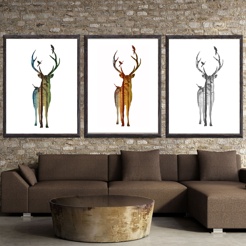 online get cheap modern art collage aliexpresscom  alibaba group - animal elk cute cartoon abstract art canvas poster collage painting picturemodern home wall decoration no frame free shipping