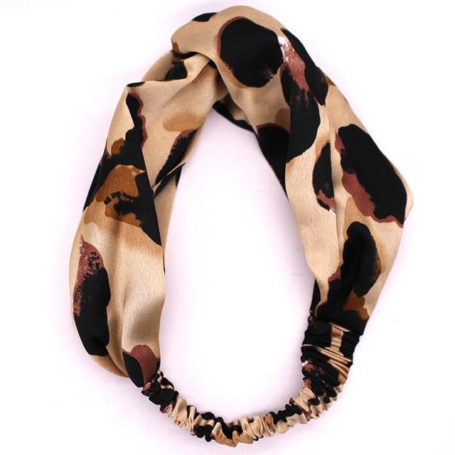Cetim de Seda com Estampa de Leopardo Headband Meninas Hairband Elástico de Alta Qualidade Torção Turbante envoltório Da Cabeça Acessórios Para o Cabelo