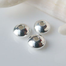 Solid 925 Sterling Silver Loose Beads Saucer Disc Shaped Spacer Beading Findings for Jewelry Making 4-8mm ,1pc(China)