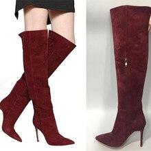 Пикантные туфли на высоком каблуке с острым носком женские сапоги выше колена; ботинки высокого качества; замша высокие сапоги Для женщин высокие сапоги EU35-40 BY585