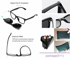 Image 3 - TR90 Clip On Sunglasses men Magnetic clip Sunglasses women Magnet Clip Optical Myopia glasses Frame with 5 sunglasses lens