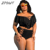 ZPDWT Off Shoulder Bikini 2018 Plus Size Bathing Suit Women Flounced Swimsuit Ruffle Swim Wear Black