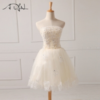 ADLN Strapless A Line Short Cocktail Dresses Lace Appliques Tulle Party Dresses Curto