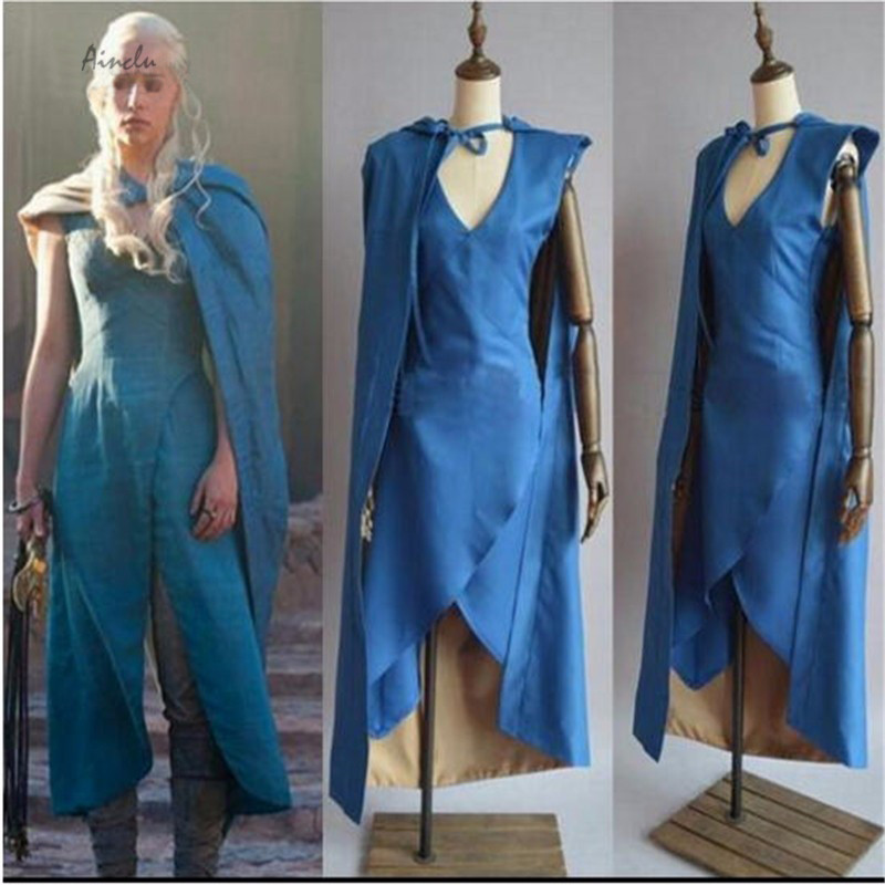 Ainclu new Film Game of Thrones Cosplay Daenerys Targaryen Costume Blue Dress Cloak A Song of Ice and Fire Movie a song of ice and fire комплект из 7 книг карта