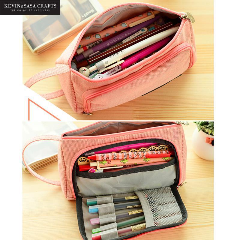 Nueva caja de lápiz encantadora Kawaii gran capacidad lápiz caja de la pluma de la escuela suministros lápiz bolsa escuela caja de lápices papelería bolsa