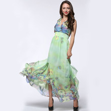 e7284aa9d6 2017 Womens Summer Elegant Beach Chiffon Clothing Ladies Bohemian Print Maxi  Long Dress Plus Size 6XL