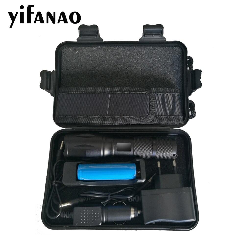 Caixa de presente alta potência 10000 lumens led lanterna kit v6/l2/t6 18650 tocha conjunto ajustável à prova dadjustable água para acampamento pesca