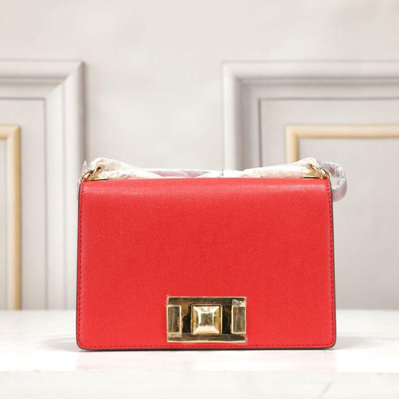 PUOU2019 latest luxury brand name genuine cowhide diagonal shoulder bag brand name chain bag