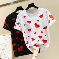 2019 Spring and Summer Simple Love Embroidery Round Collar Short Sleeve T shirt Female Students Loose Cotton Shirt Tops