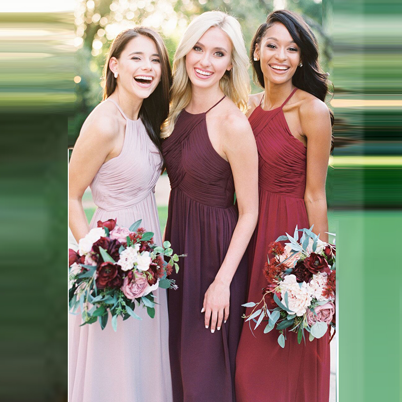 Sexy Halter   Bridesmaid     Dresses   Long Chiffon Wedding Party Gowns Vestido Longo Robe Demoiselle d'honneur