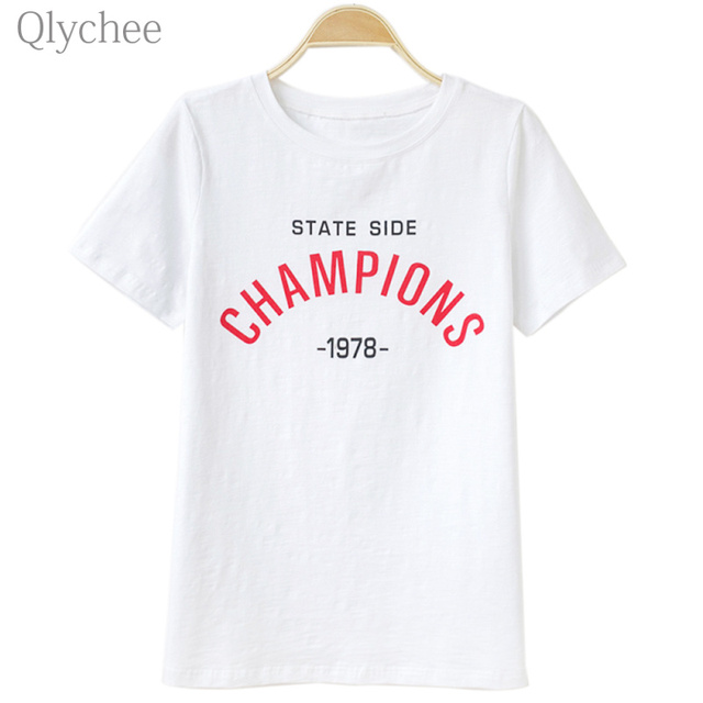 d687cdf9b Qlychee Casual Champion Letter Print T-shirt Short Sleeve White Women Tee  Plus Size Women Top