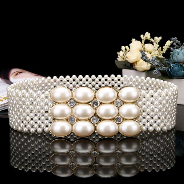 Hot Sale Luxury Pearls Crystals Beaded Wedding Elastic Sash Bridal Belt with Rhinestones cinturon para vestido de PJ200