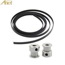 Anet 3d printer Parts 1.7M Timing Belt Width 6mm gt2 Belt+2pcs Aluminum GT2 16T/20T 6mm Bore Pulley for Reprap a6 a8