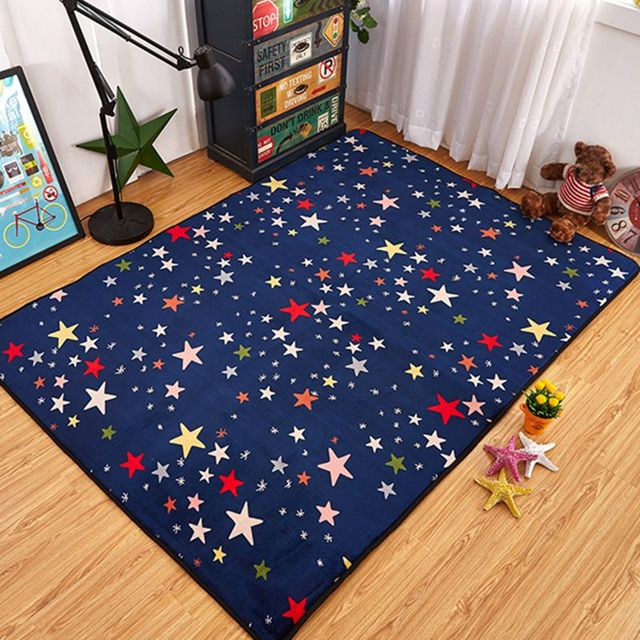 de color azul marino estrella infantil nios tapete de juego estera alfombra gatear alfombra esteras de