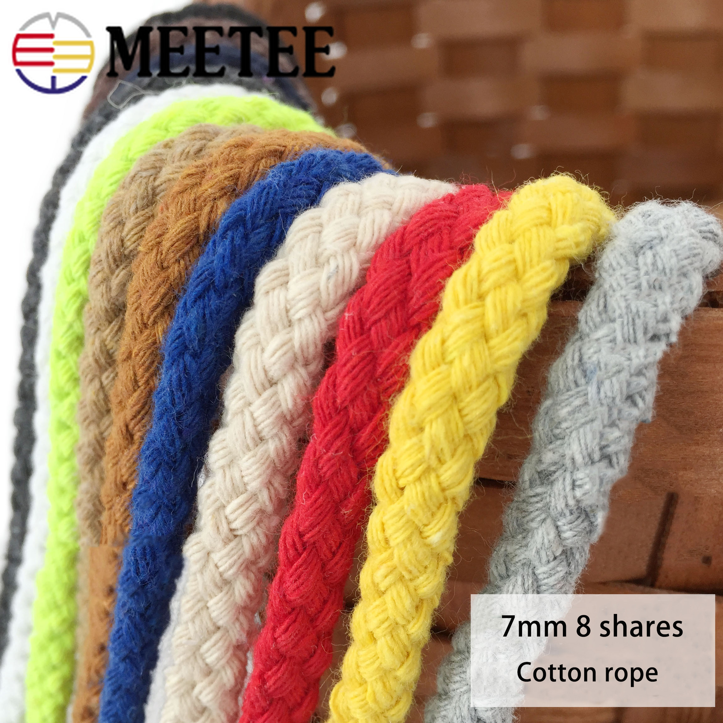20Meters 7mm 8 shares Round 100% Cotton Cord Decorative Rope Twisted Braided Drawstring Ropes DIY Home Textile Craft