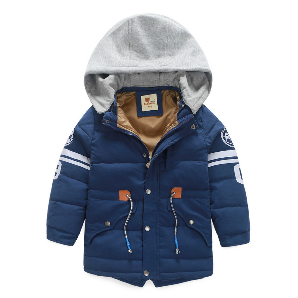 ФОТО 2016 New Boys Down Jacket Winter Outerwear Coats Fashion Casual Hooded Letters 7-14T Children White Duck Down Coat High Quality