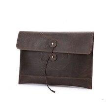 Man han edition business leather cowhide envelope bag man bag hand bag package man crazy horse leather document restoringancient
