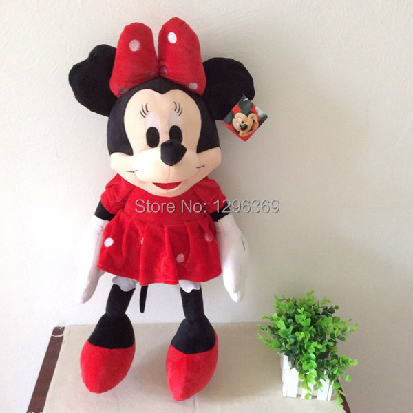 """Free Shipping 1pcs 65cm=25.6"""" Minnie Mouse Stuffed Animal Plush Toys Red Minnie Mouse Plush Toys For Kids/Girl Gift"""