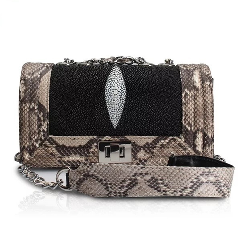 High-end Genuine Stingray Skin Lady Small Evening Purse Exotic Python Leather Silver Chain Long Strap Woman Cross Shoulder Bag