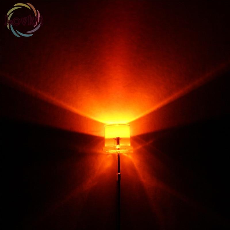 1000X 5mm Flat top Orange LED Wide Angle Flat Head Light lamp New Free Shipping