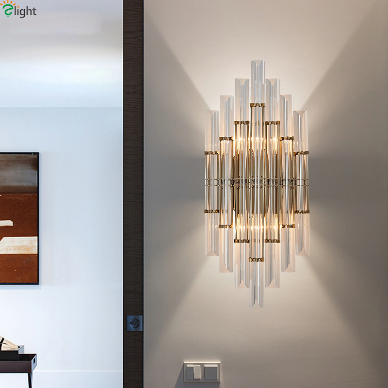 Modern Lustre Crystal Led Wall Lamp Gold Metal Bedroom Led ...