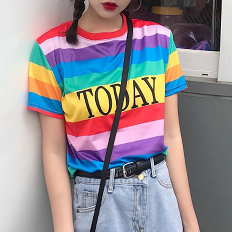 2018 Letter Printed Slim T Shirts Women Colorful T Shirt Rainbow Striped Today Letter Casual T-shirt Harajuku Tumblr Tops Tees
