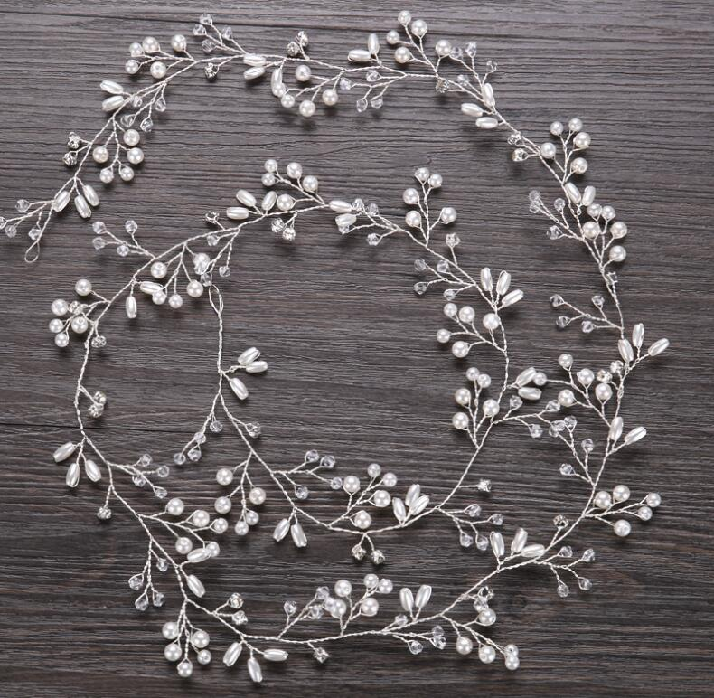 Romantic Wedding Jewelry Headdress For Bride Handmade Wedding Hair Accessories Crown Floral Crystal Pearl Hair Ornaments
