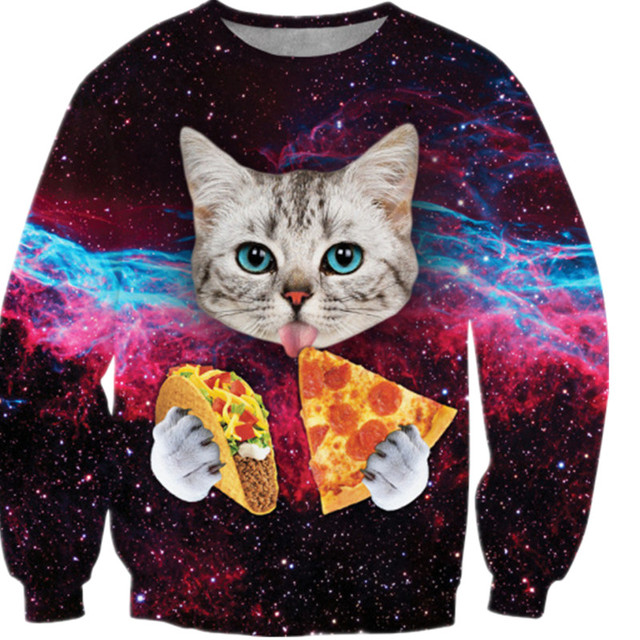 F1328 new fashion women/men 3d sweatshirt printed cat/pizza/tiger sweatshirts harajuku galaxy hoodies clothes