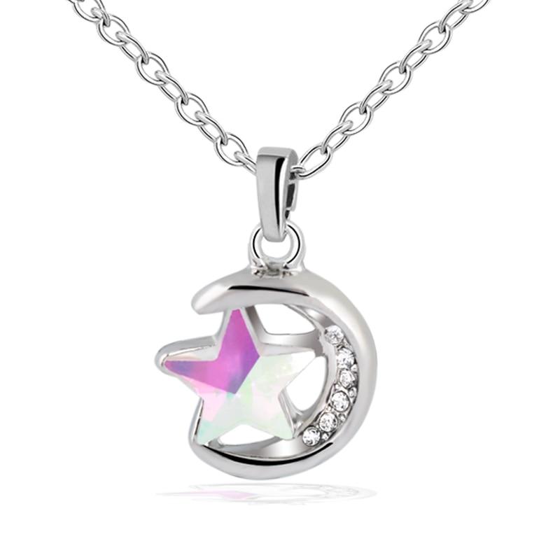 Korean fashion Charm crescent steel <font><b>sun</b></font> <font><b>moon</b></font> <font><b>star</b></font> pendant necklace