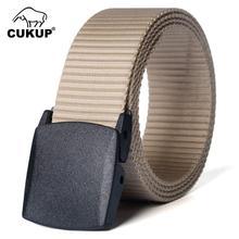CUKUP Unisex Design Casual Accessories High Quality Nylon Belts Plastic Automatic Buckle Male Fashion Belt for Men 125cm CBCK010