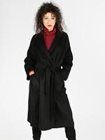 Woman windbreaker coat solid long over knee open collar