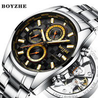 BOYZHE New Men Automatic Mechanical Watch Luxury Brand Waterproof Business Stainless Steel Gold Sports Watches Relogio Masculino