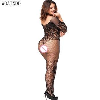 Sexy Lingerie Hot Bodystocking Teddiy Erotic Underwear Lenceria Bodysuit Sheer Nylon Stockings Costumes Plus Size - discount item  42% OFF Exotic Apparel