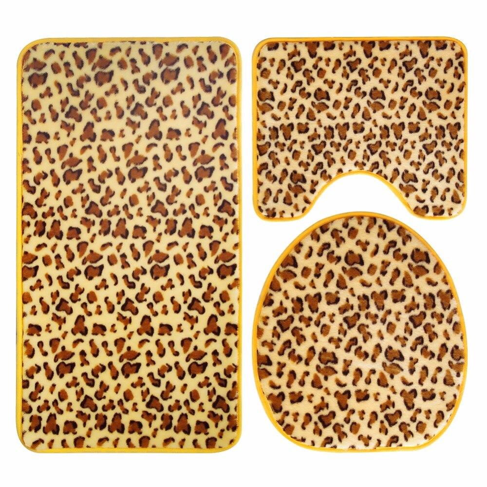 Honlaker Flannel Super Soft Bathroom Mats 3Pcs Fashion Animal Leather Toilet Mat Set Non-Slip Bath Rug
