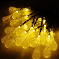 LED Solar String Lamp Water Drop String Fairy Light with 20Leds 5Meters/set for Yard Tree Lawn Xmas Decoration