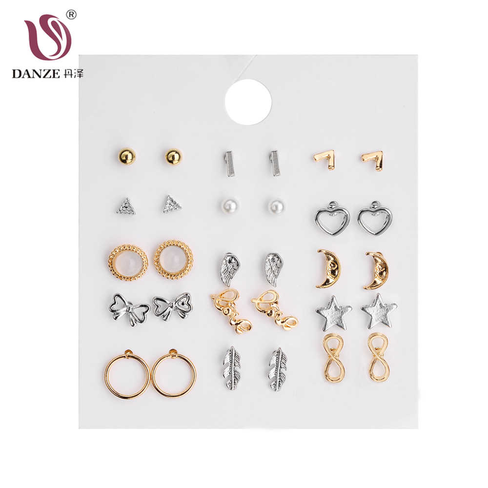 DANZE Fashion New Rhinestones 15 Pairs/pack Heart Flowers Infinite Symbol Stud Earrings Set Earrings for Women Girls Party Gift