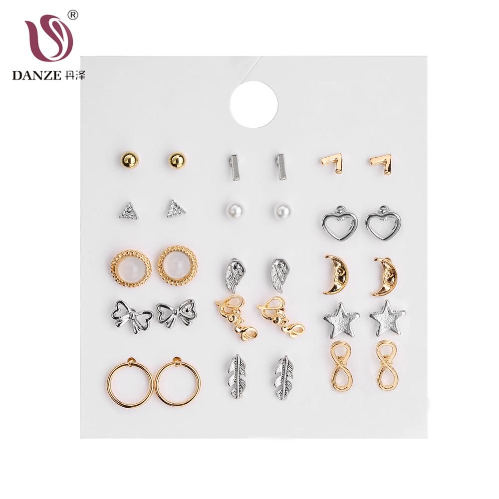 DANZE мода нови кристали 15 двойки / пакет сърце цветя безкраен символ Stud обеци комплект обеци за жени момичета парти подарък  t