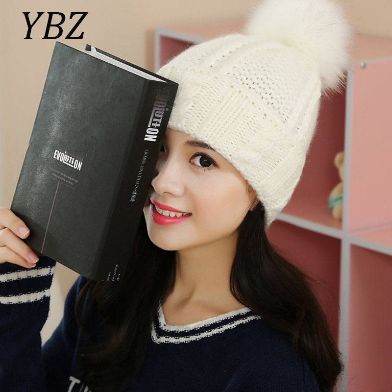 YBZ Mink and Fox Fur Pom Ball Winter Hat For Women Girl's Wool Hats Knitted Cotton Beanies Cap Brand New Thick M45 4pcs new for ball uff bes m18mg noc80b s04g
