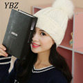 YBZ Mink and Fox Fur Pom Ball Winter Hat For Women Girl's Wool Hats Knitted Cotton Beanies Cap Brand New Thick M45