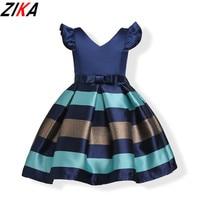 ZIKA Baby Girl Princess Dress 3-10T Kids Puff Sleeve Autumn Winter Striped Dresses for Toddler Girl Children Fashion Clothing