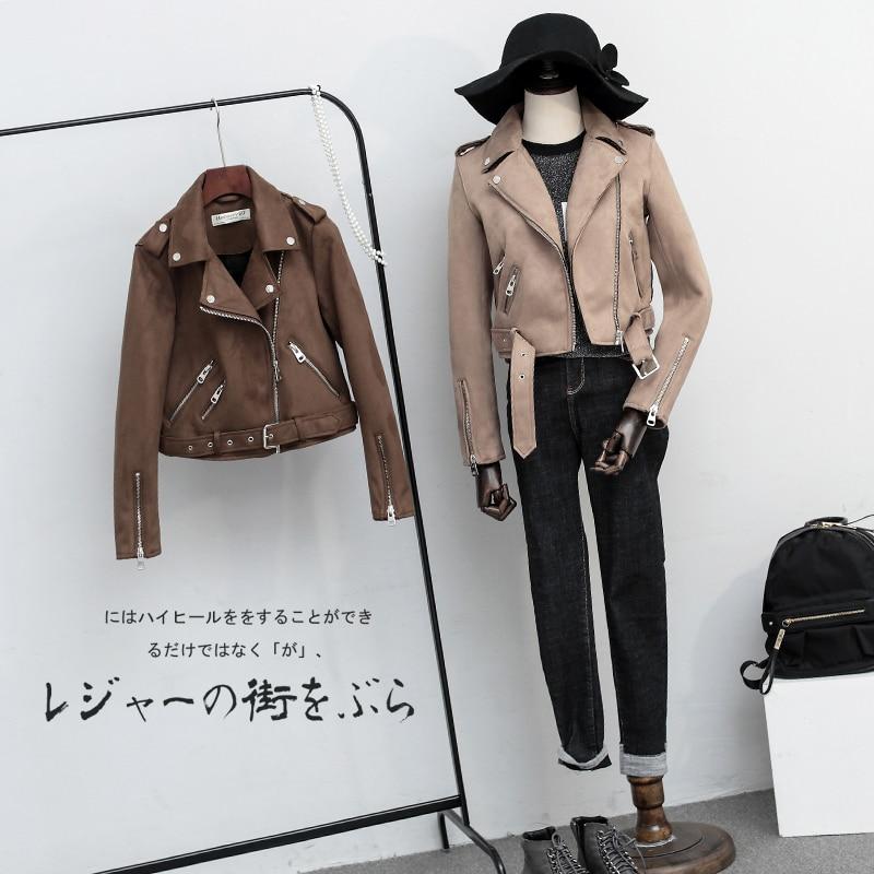 Fitaylor Vjeshtë Gratë Faux Suede xhaketë të hollë PU xhaketë - Veshje për femra - Foto 4