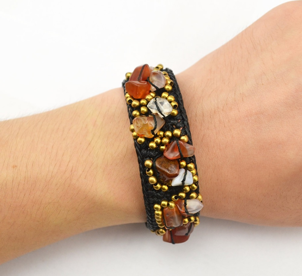 New Fashion Bohemian Style Natural Stone Beads Braided Rope Cuff Bracelets for Women Jewelry