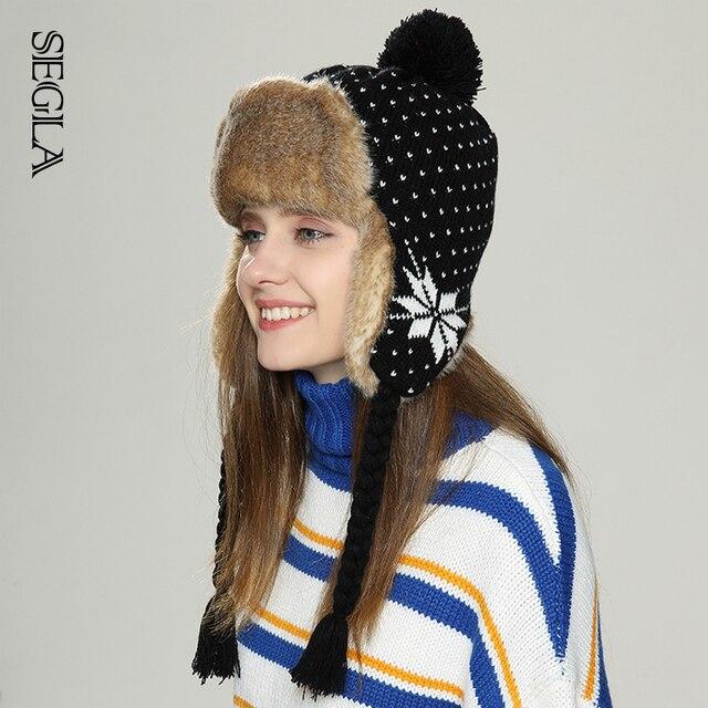 SEGLA Women Winter Russian Ushanka Warm Plush Bomber Hat Pompoms Faux Fur Wool Knitted Dot Trapper Cap Snowflake Christmas Gift