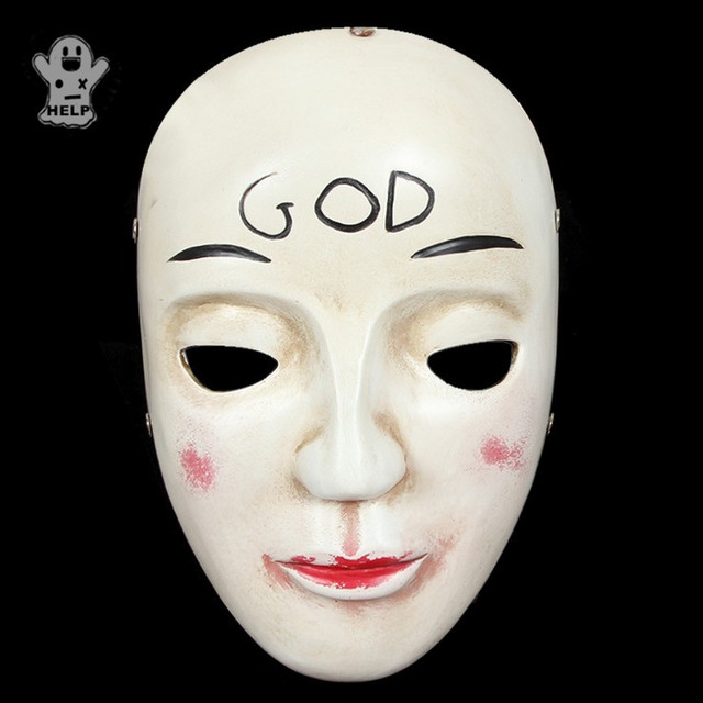 collective edition movie the purge masks god pink face resin mask mascaras halloween carnival theme cosply